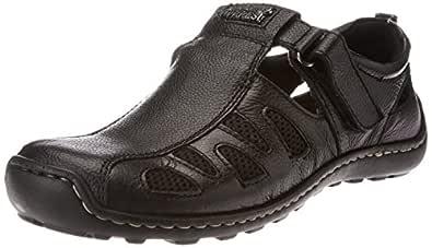 Alberto Torresi Men's Black Leather Hawaii Thong Sandals - 6 UK