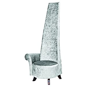 Febland Silver Crushed Potenza With Wooden Feet, Fabric, 80x50x138 cm