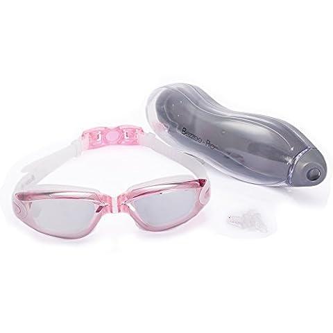 Lunettes de natation avec étui & bouchons d'oreilles lunettes de Piscine antibuée, étanches et réglables Adultes 180° (Rose, Lentille miroir)