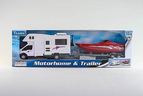 GT-6250 CAMPING CAR Motorhome avec le bateau en remorque, 35cm - Véhicule voiture auto de jeu miniature modèle À L