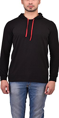 Unisopent Designs Men's Cotton T-Shirt/Hooded T-Shirt/Full Sleeves T-Shirt/Hooded Sweatshirt/Pullover Jacket with Ribbed Cuffs, Black  available at amazon for Rs.369