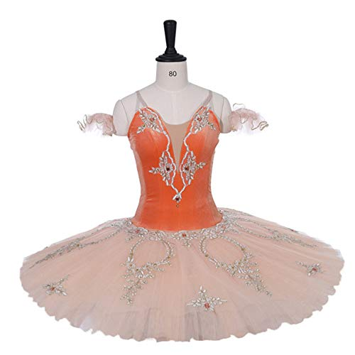 QSEFT Erwachsene Professionelle Orange Ballett Tutu SAMT Stoff -