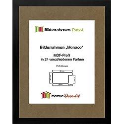 Monaco MDF Bilderrahmen ohne Rundungen 62 x 47 cm Größe wählbar 47 x 62 cm hier: Schwarz matt mit Acrylglas klar 1 mm