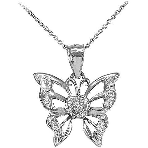 Donne Collana Pendente 14 Ct Bianco Oro Farfalla Zirconia (Viene Fornito Con Una Catena Da 45cm)