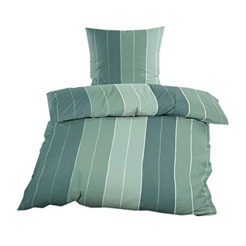 Microfaser Fleece Bettwäsche 2 teilig Bettbezug 155 x 220 cm Kopfkissenbezug 80 x 80 cm/Grün gestreift