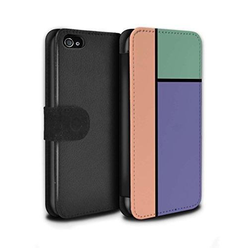 Stuff4 Coque/Etui/Housse Cuir PU Case/Cover pour Apple iPhone 4/4S / 5 Carreaux/Turquoise Design / Carreaux Pastel Collection 3 Carreaux/Violet