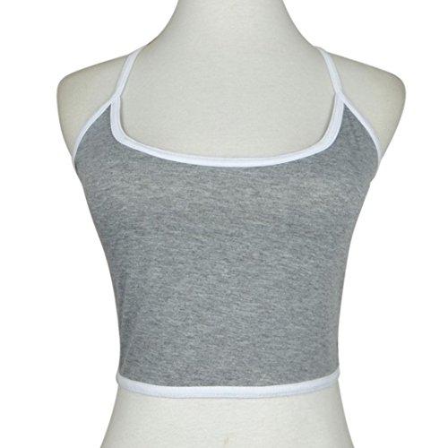 Ularmo Frauen Boho Tank-Bustier BH Vest Crop Top Bralette Bluse Cami (L, Grau)