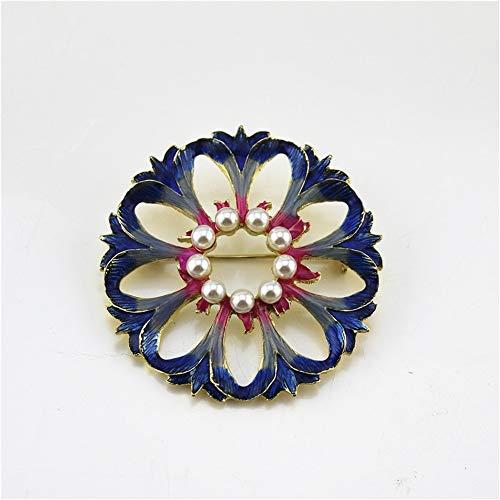 (ZQword Mode Broschen Blume Perle Strass Kragen Brosche für Frauen Kostüm Schmuck Dekoration)