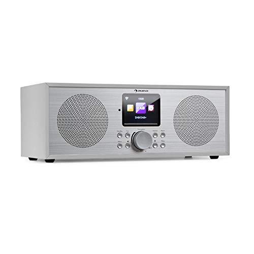auna Silver Star Stereo Internet DAB+ / UKW Radio • Internet-Radio mit WLAN • Küchenradio • Bluetooth • 2 x 8 Watt RMS • USB • App-Steuerung • AUX • Weckfunktion • inkl. Fernbedienung • weiß