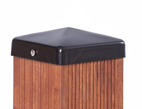 Preisvergleich Produktbild Pfostenkappe schwarz Pyramide für Pfosten inkl. VA-Schrauben (9x9 cm)