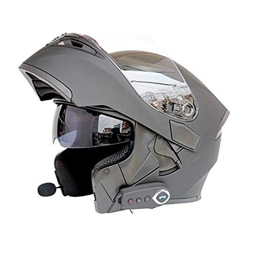 Casco Moto Bluetooth Casco Modulare Musica Smart Helmet Auto Risposta Built-in Dual Speaker Cuffie con microfono Double Mirror Anti-Fog (Nero) (Size : XL)