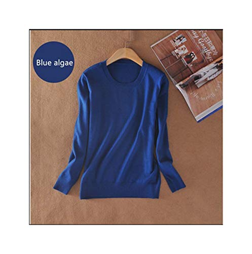 of Cashmere Sweater O-Neck Fashion on The solid Color Long Sleeve Knitted Pullovers S-XXXL Blue Algae S -