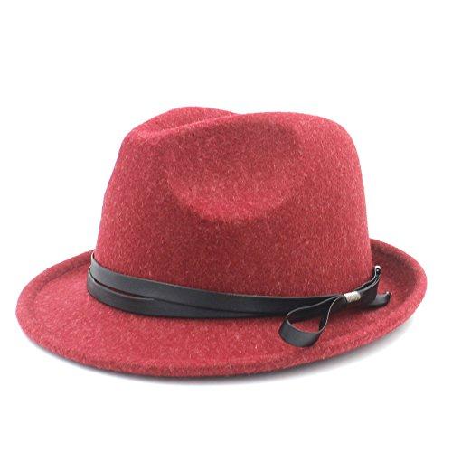 VAXT Ziel frauen männer gangster fedora hut für verfeinerte dame gentleman trilby fühlte homburg kirche jazz hut mit mode leder (Farbe : Rot, Größe : 57-58CM)