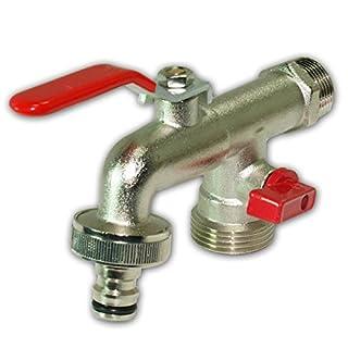Stabilo-Sanitaer Kugelauslaufhahn 3/4 Zoll Messing Kugelauslaufventil mit Doppelanschluss und Schlauchtülle, mittlerer Abgang 1 Zoll