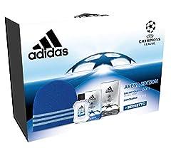 Idea Regalo - Adidas - Confezione Regalo UEFA Champions League - Arena Edition: Profumo Uomo 50 ml, Dopobarba 100 ml e Cappellino Lana Blu
