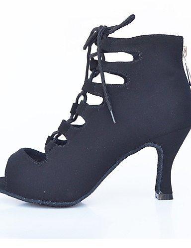 ShangYi Chaussures de danse(Noir / Bleu / Violet / Rouge) -Personnalisables-Talon Aiguille-Flocage-Latine / Moderne Red