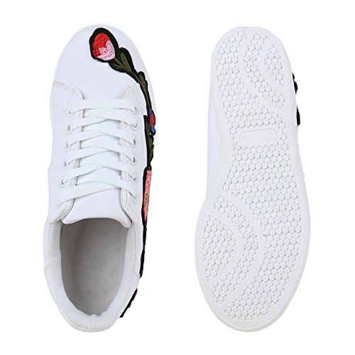 Stivali Paradiso Signore Sneakers Sneakers Floreali Basso Pattini Del Ricamo Di Sport Scarpe Pizzo Finto Cuoio Cap Metallico Flandell Fiori Bianchi