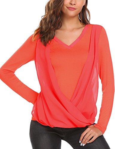 Finejo CasualDamen Elegant oberteile langarm Shirt Transparent Tüll Mesh am Brust Blusen Top Herbt Schwarz XXL Orange