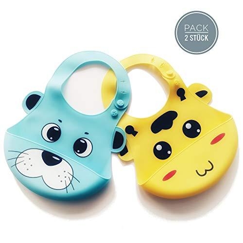 2er - Set Silikon Lätzchen für Neugeborene, Babys und Kleinkinder - FDA zertifiziert, Geschirrspüler geeignet, Hygienisch sauber - Nur das Beste für Ihr Kind!