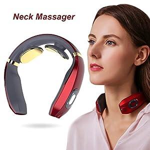 Nackenmassagegerät,Intelligentes Nackenmassagegerät, Elektrisches Puls-Nackenmassagegerät, Elektrisches Nackenmassagegerät mit Heizfunktion, drahtloses 3D-Reise-Nackenmassagegerät-Weihnachtsgeschenk