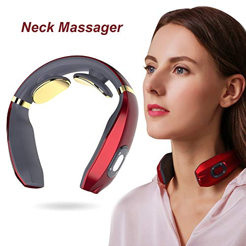 Masseur cervical,Masseur de nuque portable,Masseur multifonctionnel pour le cou,Masseur Cervical Intelligent,Massage Confortable,Massage par Impulsions Basse Fréquence,6 Types de Méthodes de Massage