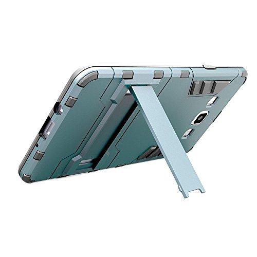 J5 Case, Lantier [Tire Conception peau] 2 In 1 Combo robuste Dual Layer [Heavy cas Duty] Slip hybride amovible Case Robot Armure impact avancée silicone souple Couverture rigide Snap On pour Samsung G argent