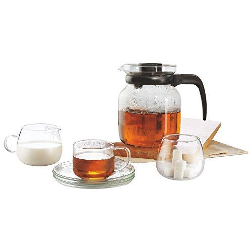 BOROSIL® Piccoletta Teeservice Glas Set | 6 Tassen 150ml mit Untersetzer | Teekanne 1L | Milch und Zucker Set | Leicht, Dünnwandig & hitzebeständig | aus Borosilikatglas