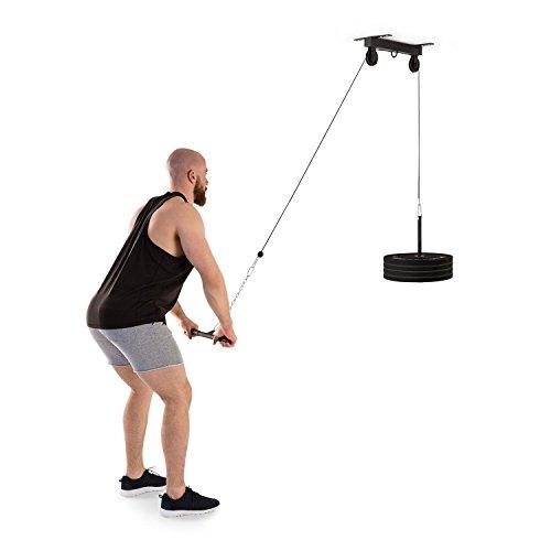 Klarfit Hangman Latzug • Kabelzug-Station • Fitness-Station • 2 m Kabel • Stahlkonstruktion • max. 150 kg Gewichte • Deckeninstallation • inkl. Trizepsstange und 30 cm Verlängerungskette • schwarz