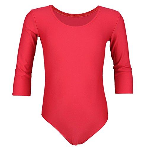 Rote Armee Mädchen (Aquarti Mädchen Body 3/4 Arm Ballett Trikot Baumwolle, Farbe: Rot, Größe: 116)