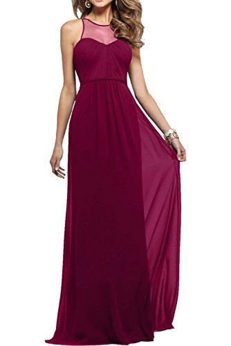 Milano Bride Elegant Navy Blau Langes Abendkleider Chiffon Partykleider Promkleider Lang Festliche Kleider Weinrot