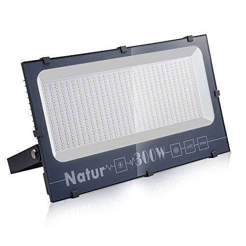 Natur 300W LED Strahler,30000LM Superhell Fluter,IP66 wasserdicht Industriestrahler,Kühles Weiß Flutlicht-Strahler,Außen-Leuchte Flutlicht-Strahler für Außenbereich
