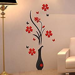 Idea Regalo - Topgrowth Wall Sticker Adesivi da Parete DIY Vaso Fiore Albero Cristallo Adesivi Murali 3D Home Decor
