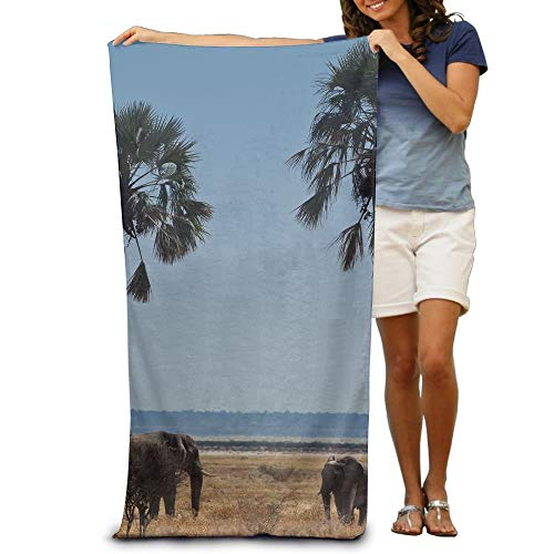 uschtücher Strandtücher Tropical Palm Tree African Elephant Beach Towels Premium Soft Eco-Friendly Printing Design Swim,Non-Toxic décor 31