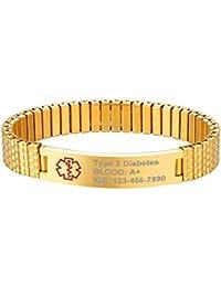 fb053899fac3 Supcare Cruz Roja Alerta Médica Personalizable Brazalete Medical de  Identificación con Tag Acero Inoxidable Grabado Gratis