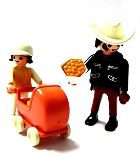 Playmobil ® Vater mit Tochter und Puppenwagen mit Teddy