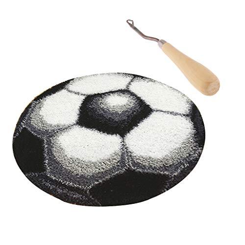 IPOTCH Acryl-Mischgewebe Haken Kit, Fußball Knüpfteppich für Kinder und Erwachsene