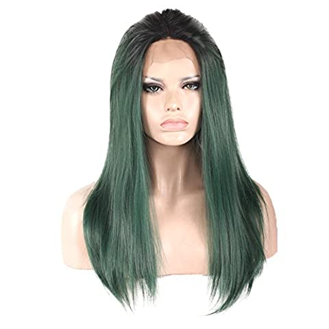 Rokoo Fashion Women Sexy Long Wigs Central Parting Natural Straight Malachite Green Gradient Full Wig Ladies Girls Cadeaux