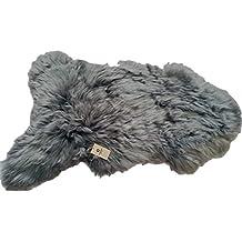 Genuine Icelandic Sheepskin Lambskin Rug Thick Wool Soft and Silky dyed Silver Grey XL 110-115 cm