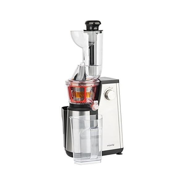 H.Koenig GSX18 Estrattore di succo Tubo Extra Large, 60 giri/min, Spremitura Lenta, Acciaio Inox, BPA Free 1L, 400W - 2020 -