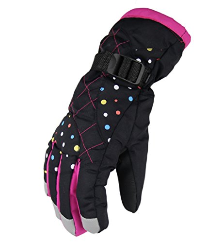 WATERFLY Winter Women Gloves Warm Water Resistant Snowmobile Snowboard Ski Athletic Gloves for Outdoor Cycling Biking (Black)