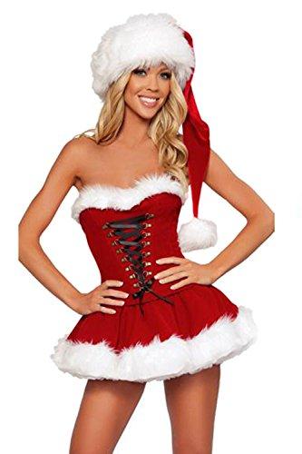 Kostüme Kleid Tube (Frauen Weihnachtlich Auch Verband Bodycon Kleid Mit Weihnachtsmann - Mütze Kostüme Red One)