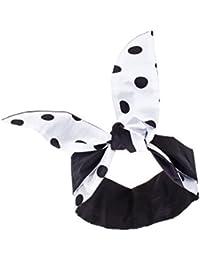 Weisses Haarband schwarze Punkte extra breit (11x ca.93 cm) Rockabilly auch als Nickituch