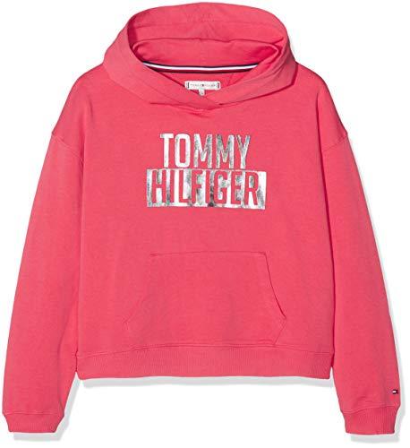 Tommy Hilfiger Mädchen Essential Logo Hoodie Kapuzenpullover, Rot (Teaberry 616), 164 (Herstellergröße: 14)