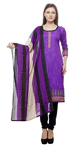 Divyaemporio Women'S Faux Cotton Purple And Black Salwar Suits Dress Material
