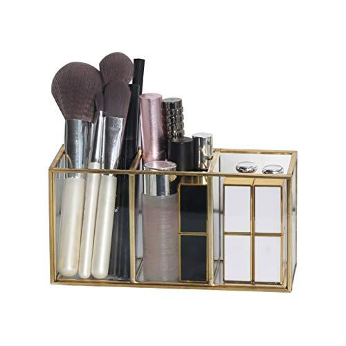 YNLRY Kosmetische Aufbewahrungsbox Desktop-Lagerregal Transparentes Glas Multifunktions-Kosmetik-Aufbewahrungsbox Haushaltsabfälle Desktop-Aufbewahrungsbox (Color : Clear, Size : 18 * 7 * 9CM) -
