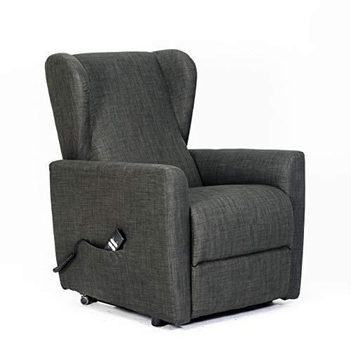 Poltrone-italia - poltrona alzapersona, reclinabile 2 motori indipendenti, seduta indeformabile, comode orecchie laterali, spesa detraibile 19% - poltrona isabel 2bav-it-bro tessuto tortora