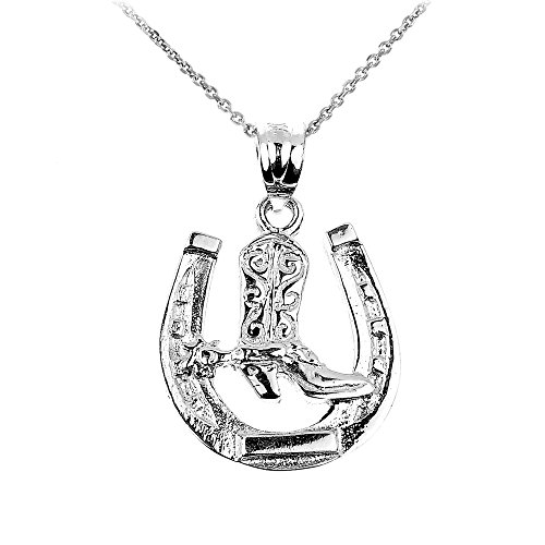 925 Sterling Silver Lucky Horseshoe with Cowboy Boot Charm Pendant Necklace