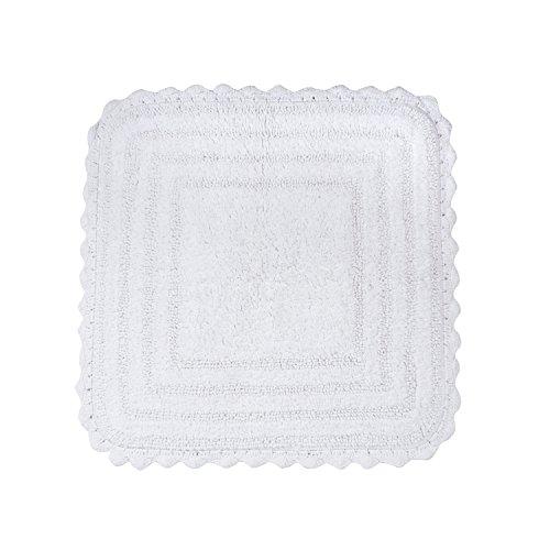 DII Badematte/Badematte, extraweich, Baumwolle, gehäkelt, rund, 71 cm, Blaubeerenfarben quadratisch Square weiß