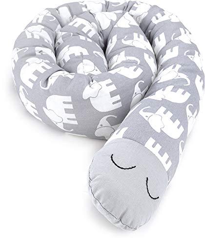 Priebes Clausi die kleine Bettschlange   Länge ca. 130 cm   Nestchen fürs Babybett   Lagerungskissen   Seitenschläferkissen   allergiker geeignet   Bezug 100{4919b0a75313f75d60f8a1ecfb0b96e45ae2b1fb386b082fca59cc63fb479a75} Baumwolle, Design:elefanten grau