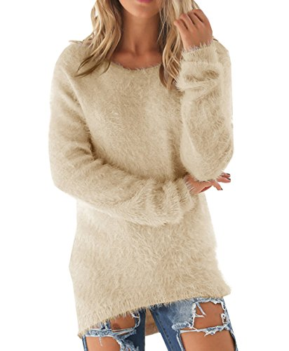 LemonGirl Women's Fashionable Long Sleeve Pullovers Loose Fluffy Fuzzy Jumper Sweater (Flame Camo Orange)